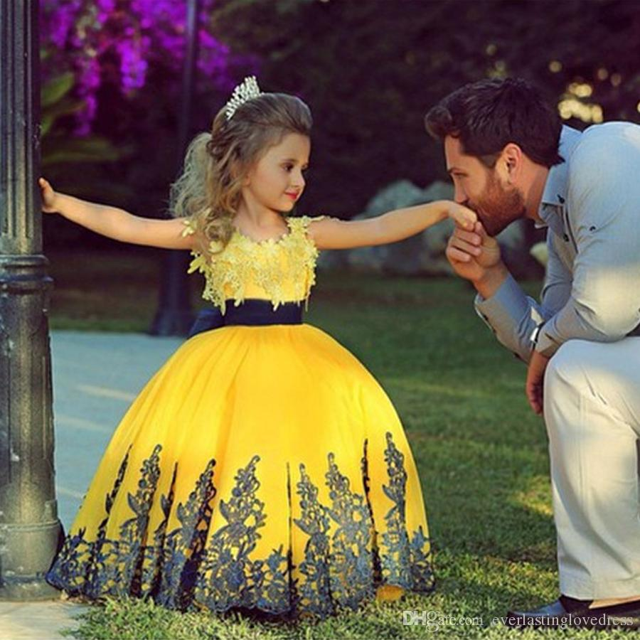 Saidmhamad Flower Girl Dresses With Applique Due Pietre Giallo e blu scuro abito da sera prima comunione per le ragazze