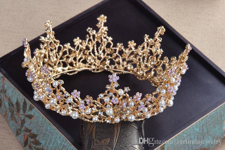 Çarpıcı Vintage Gümüş ve altın kaplama Kristal Rhinestone Yapraklar Fildişi İnciler Gelin Gelinlik Saç Taç Tiara Başlığı Jewerly TZ087