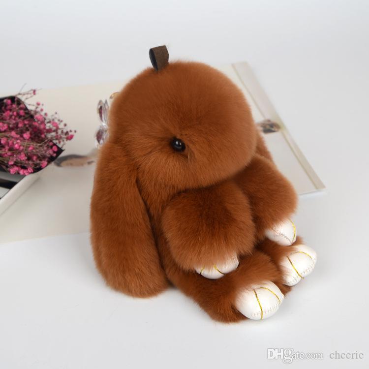 18cm size Rabbit Furs Key Chain Pompom Fur Keychain Bag Charms Car Pendant Key Cover Trinket Women Chaveiro Keychains Handbag Keyrings