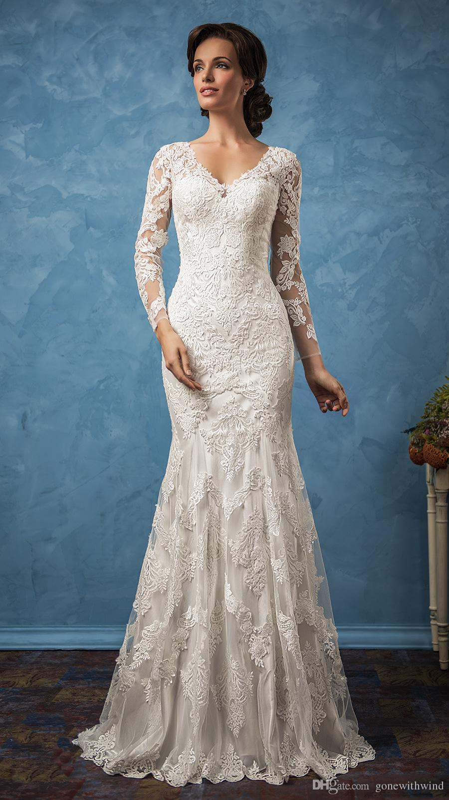 Long Sleeve Vintage Lace Wedding Dresses 2017 Amelia Sposa Bridal V ...