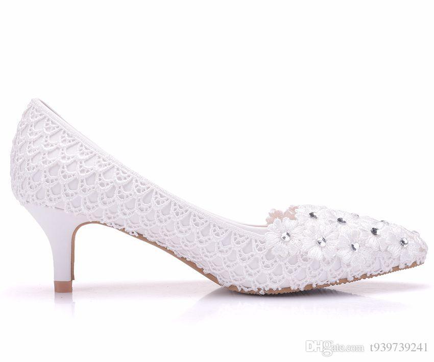 Großhandel Kristallkönigin 5cm Ferse Weiße Blumen Spitze