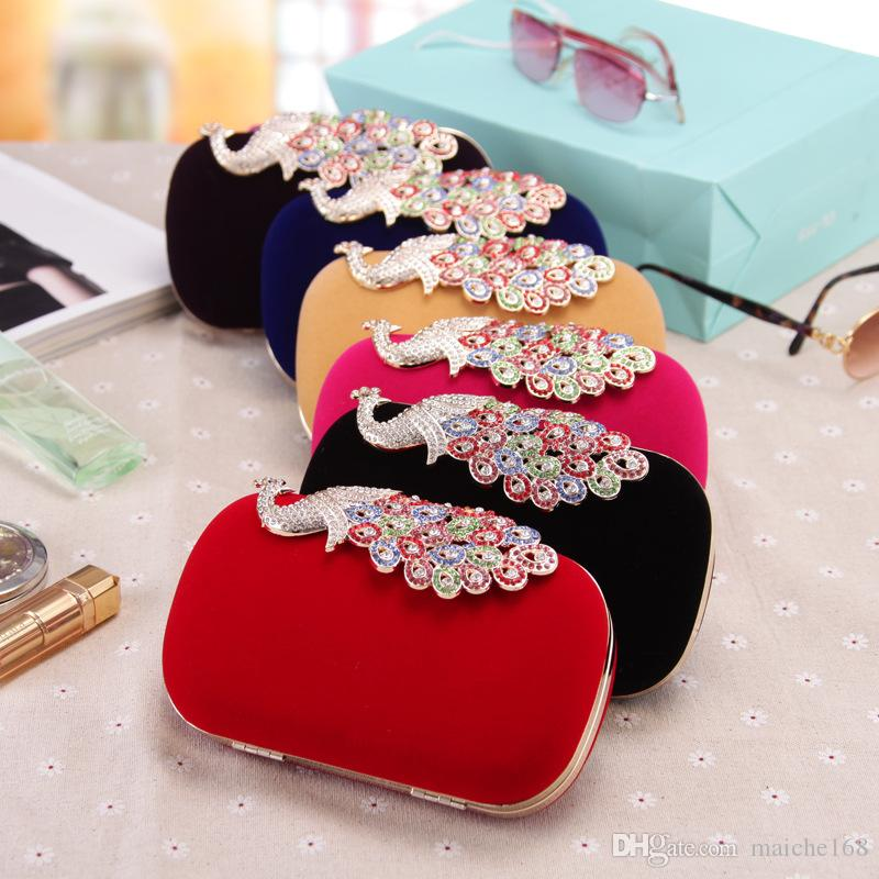New fashion festive wedding peacock hand bag ladies chain dinner bag diamonds oblique satchel bag