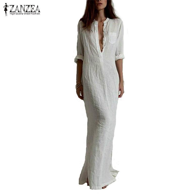 الجملة- zanzea الأزياء vestidos 2016 الخريف المرأة مثير فستان عارضة طويلة الأكمام عميق الخامس الرقبة الكتان سبليت الصلبة طويل فستان ماكسي زائد الحجم