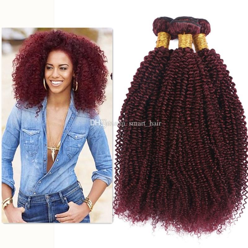 Vin Rouge 99J Kinky Bouclés Cheveux Bundles Bonne Qualité Bourgogne 99J Brésiliens Vierge Cheveux Extension Afro Crépus Bouclés Cheveux Tisse 3 Pcs