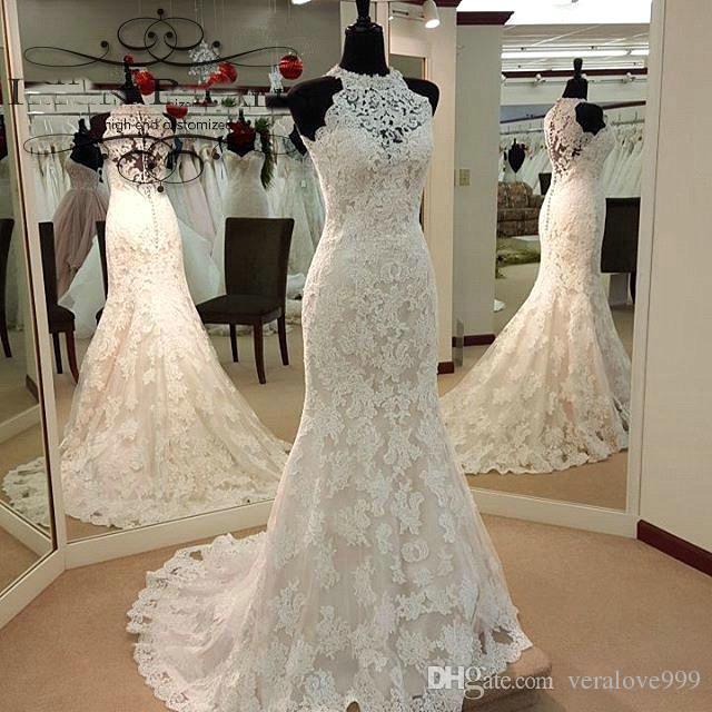 trouwjurk Custom Made High Neck Wedding Dresses 2017 Lace Mermaid Wedding Dress Sleeveless Court Train robe de soiree Full Lace Bride Gowns