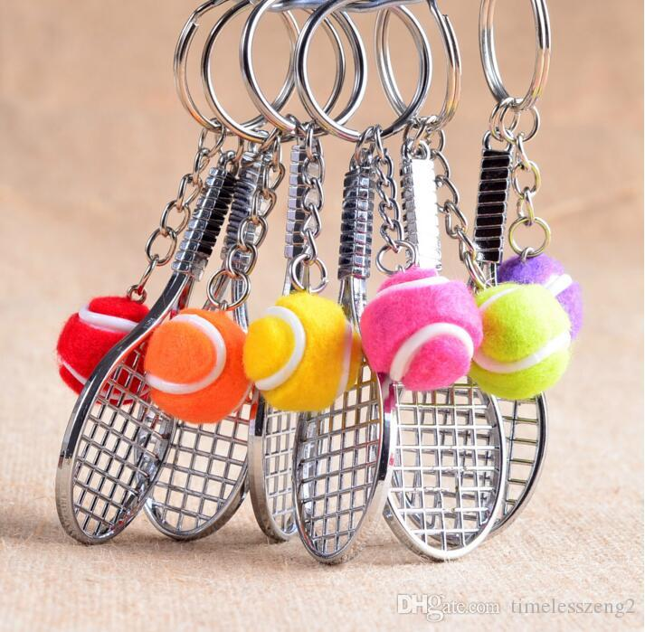 Racchetta da tennis in argento con portachiavi a pallina Portachiavi a pallina da tennis multicolore Accessori da tennis per appassionati di tennis