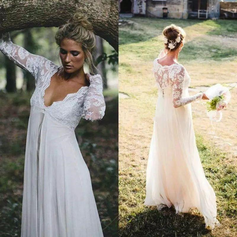 Land Boho Brautkleider mit Langen Ärmeln 2017 Vestido De Noiva Günstige Illusion Zurück Brautkleider Kaufen Aus China