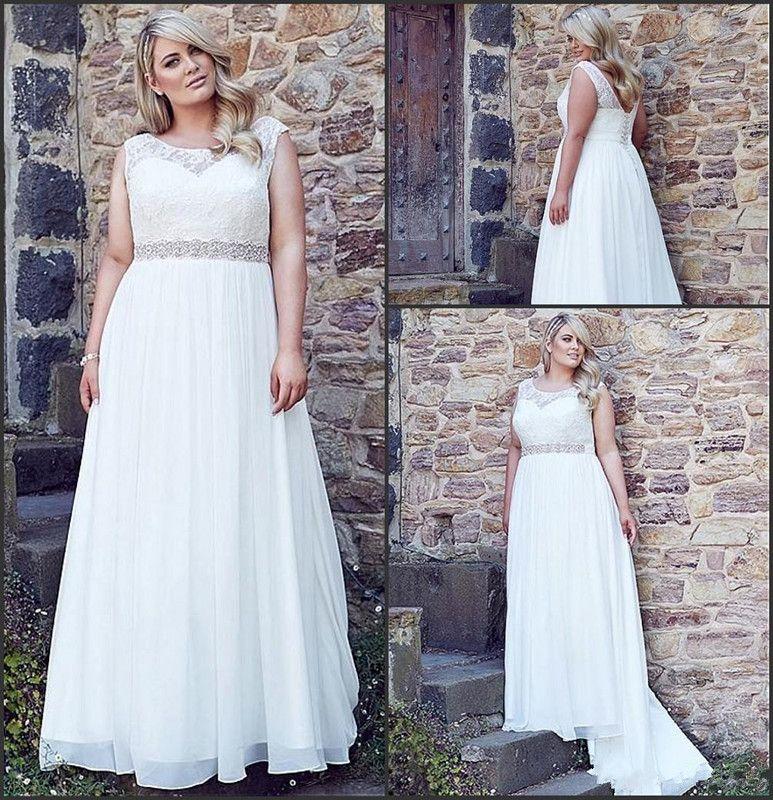 Discount Plus Size Wedding Dresses 2017 Jewel Neck Vintage Lace With