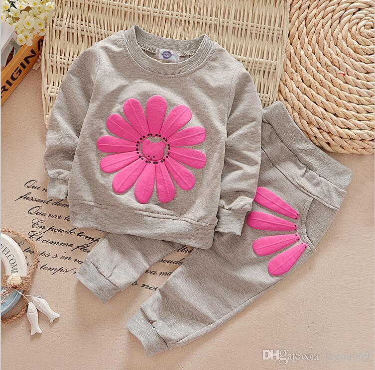 Vendita al dettaglio nuova primavera autunno abbigliamento per bambini vestiti girasole bambini con cappuccio + pantaloni tuta per bambini ragazzi vestiti set G949