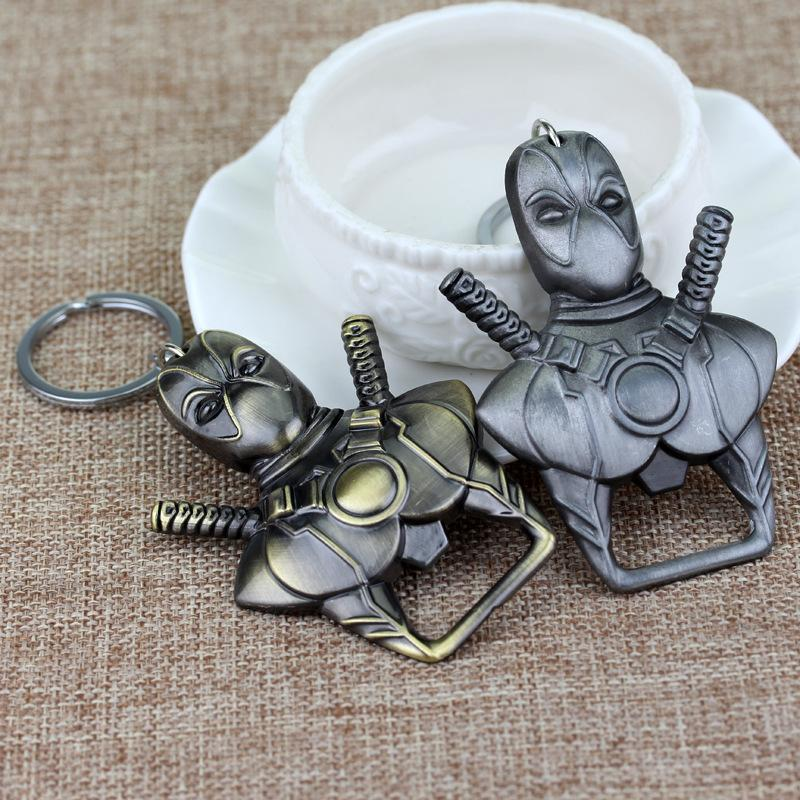 100pcs New Fashion Movie Keyring Marvel Comics Deadpool Keychain Cool Bottle Opener Pendant Key Chain 2 Colors WA2587