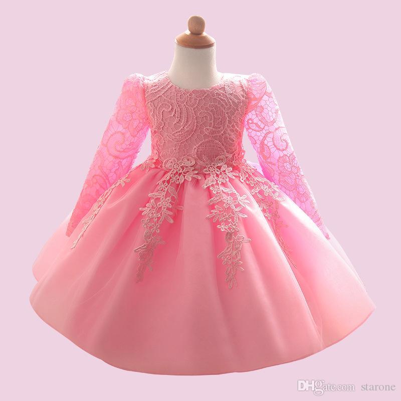 Haute Qualité Princesse Bébé Fille Baptême Anniversaire Chirstening dress for infant