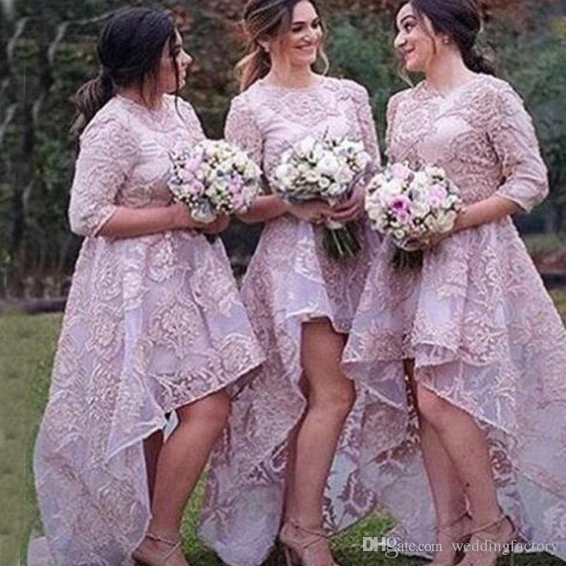 Gorgeous Lilac High Low Bridesmaid Dresses Jewel Neck 3/4 Ärms Lace Appliques Organza Korta Front Long Back Bridesmaids Grows Custom