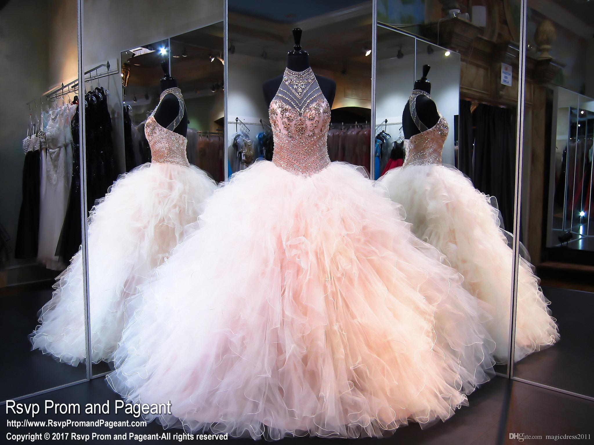 현대 공 가운 Quinceanera Dresses 2019 공주 고삐 맨손으로 주요 구슬 공주 푹신한 달콤한 16 대회 댄스 파티 착용 맞춤 제작