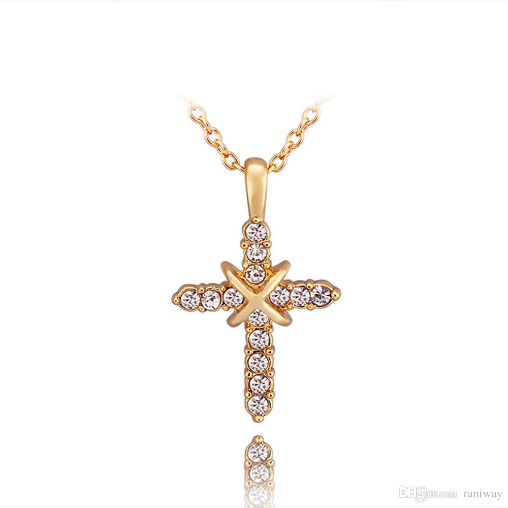 18k rose or yellow gold plated cubic zirconia stone set cross pendant necklace