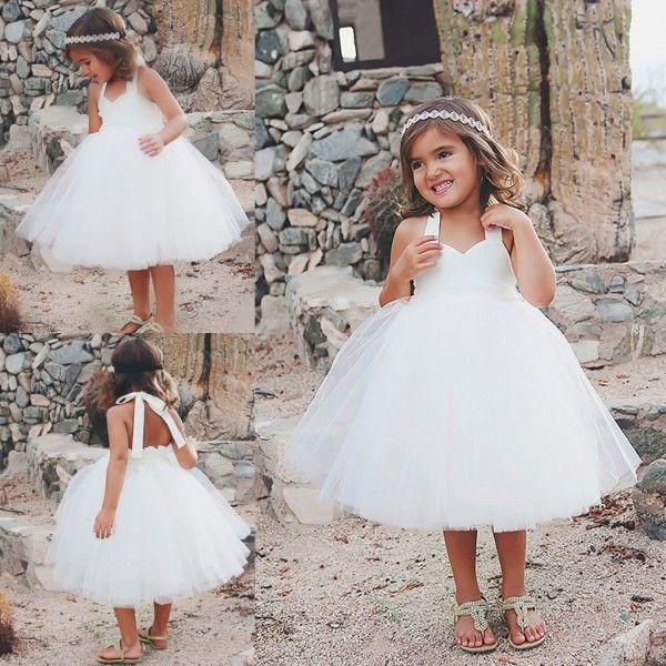 Cheap Ball Gown Flower Girls Dresses White Knee Length Communion Gowns 18 Months Tulle Halter Little Kids Dress For Weddings 2018 From Newdeve