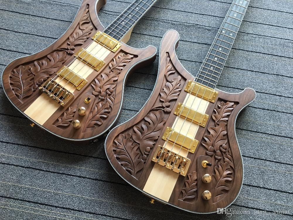 Rickenbastard 4004 LK Лемми Limited Edition Brown Walnut Electric Bass Guitar One Piece Maple Neck Thru Body, Wilkinson Тюнеры