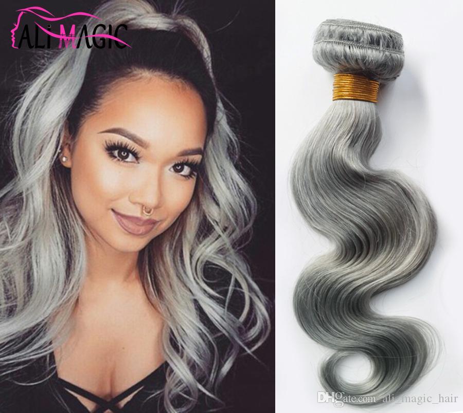 Ail Magic Grey Human Hair Weave Silver Gray Hair Extensions Factory Offer Peruvian Indian Malaysian Brazilian Body Wave Hair 3 Bundles