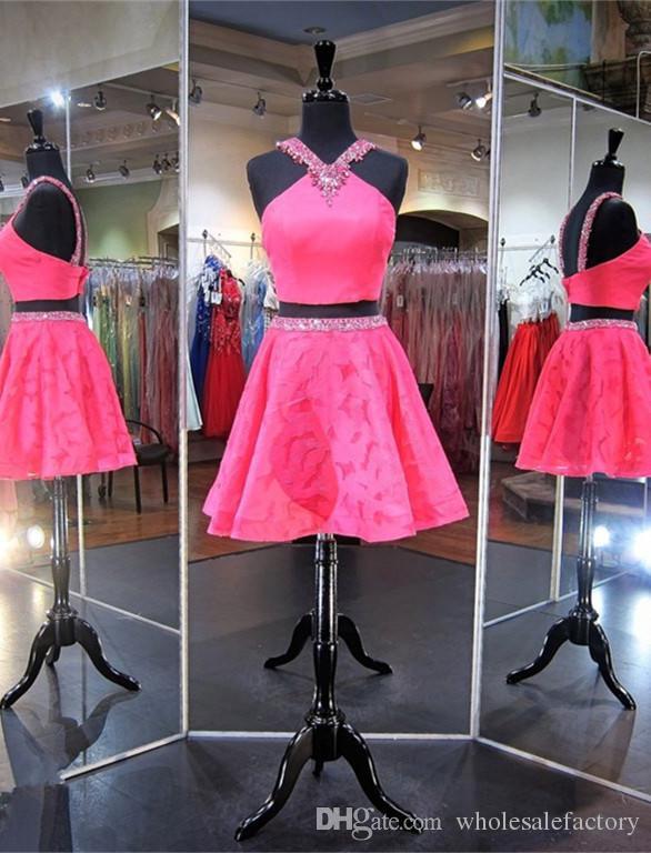 2 pezzi Crystal Short A Line Designer Abiti Homecoming Online Shop Gonna fucsia in pizzo Mini ragazze Abiti Homecoming Vendita 2018