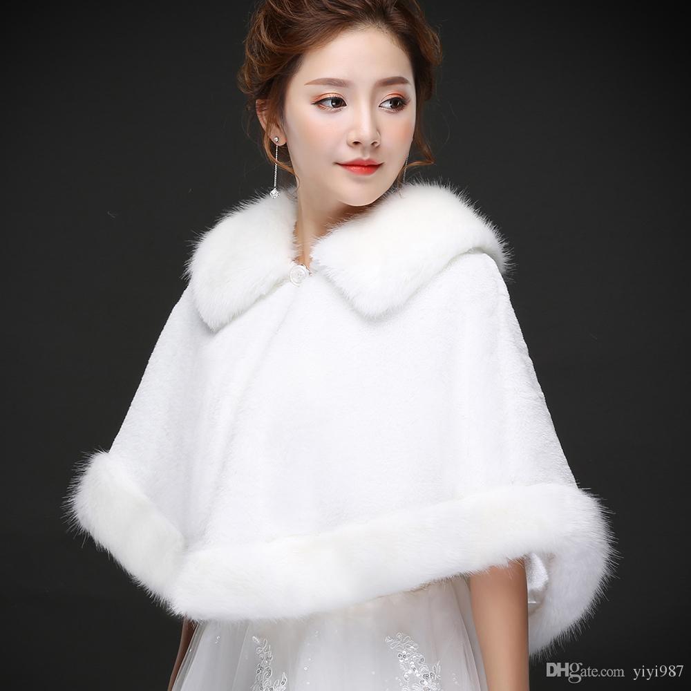 100% Immagine reale Elegante Bianco Perla Bianco Avvolgitore da sposa Cappotto Giacche Boleros Scollegare le spalle Regular Faux Pelliccia Stola di pelliccia Capes per la festa di nozze