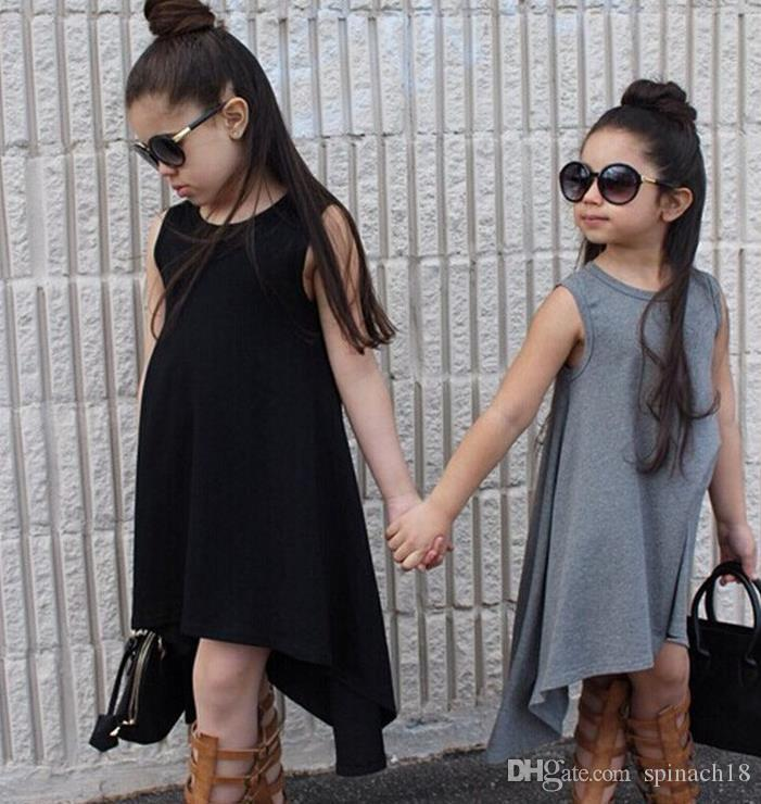 Compre Niñas Bebés Ins Chaleco De Vestir De Verano De Moda De Europa Sin Mangas Vestido De Algodón Niña Niños Casual Vestido Largo Negro Gris 3096 A