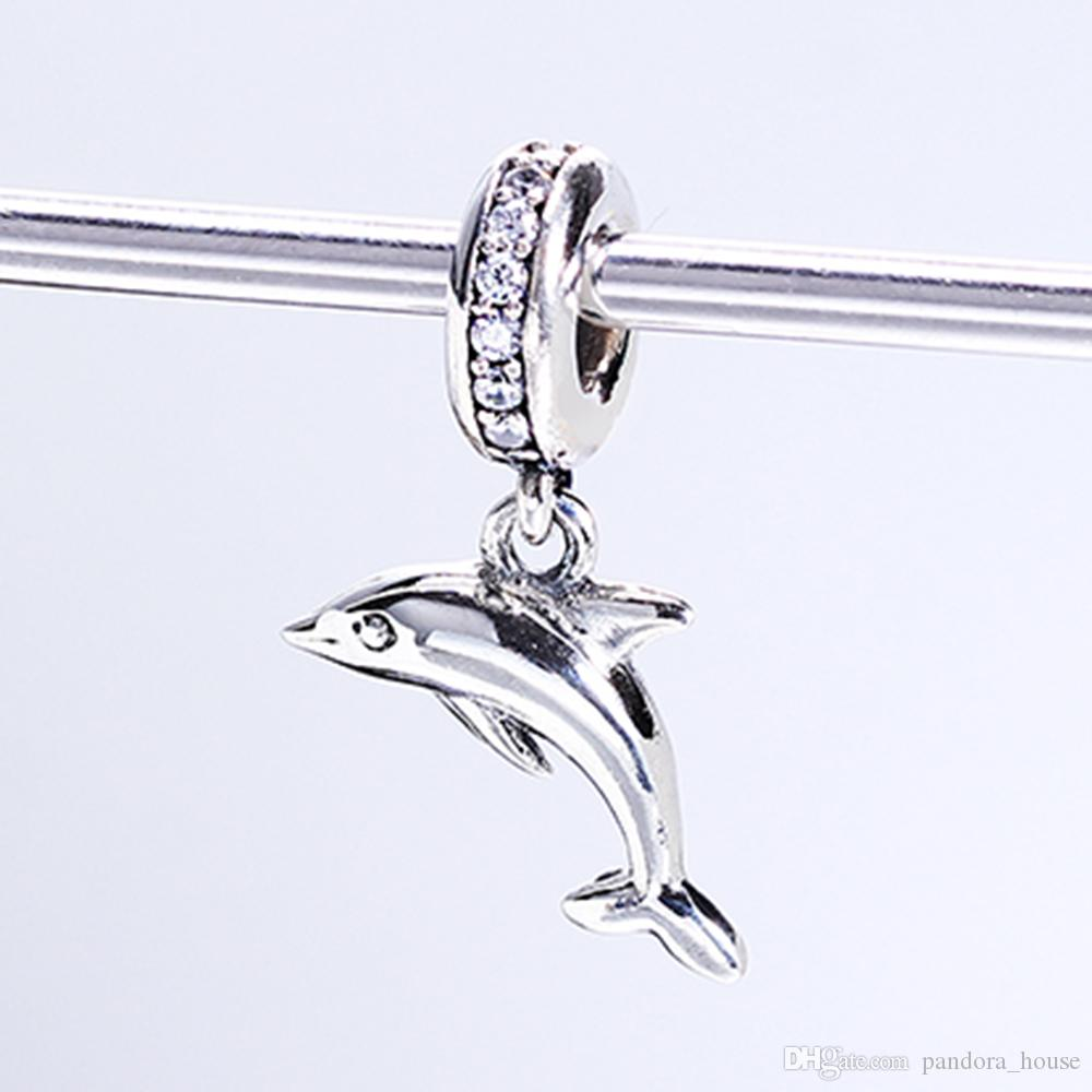 Real 925 Sterling Silver Not Plated Dolphin Silver Hanging Charm CZ European Charms Beads Fit Pandora Snake Chain Bracelet DIY Jewelry