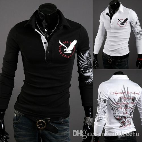 Eagle Polos Shirt Men Shirts Long Sleeve Embroidery Eagle pattern turn down collar fashion casual slim fit for man polo shirts free shipping