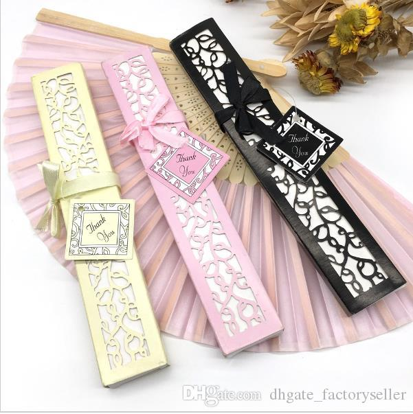 DHL Freeshipping Luxurious Silk Fold hand Fan in Elegant Laser-Cut Gift Box (Black; Ivory) +Party Favors/wedding Gifts