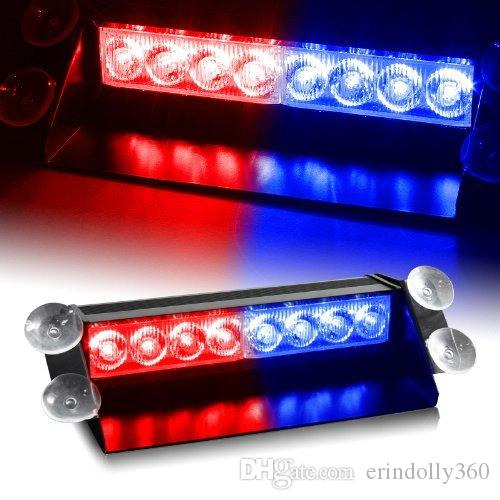 8 LED Warning Caution Car Van Truck Emergency Strobe Light Lamp For Interior Roof Dash Windshield (Red/Blue)