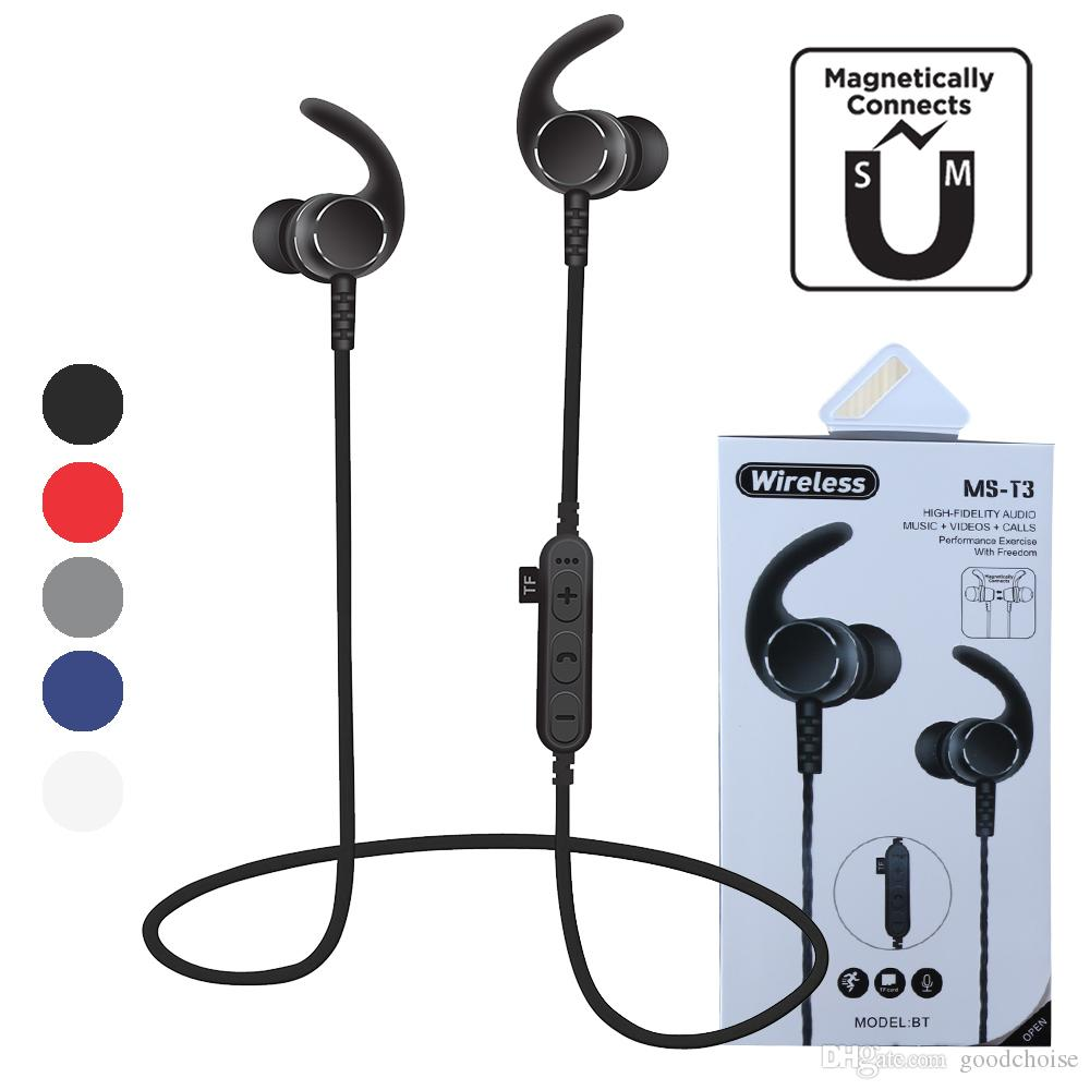 Ms T3 Magnetic Sport Wireless Bluetooth Headset Earphones Earbuds Bt 4 2 Headphones With Mic Mp3 Stereo For Smart Phone Headphone For Cell Phone Headset Cell Phone From Goodchoise 6 17 Dhgate Com