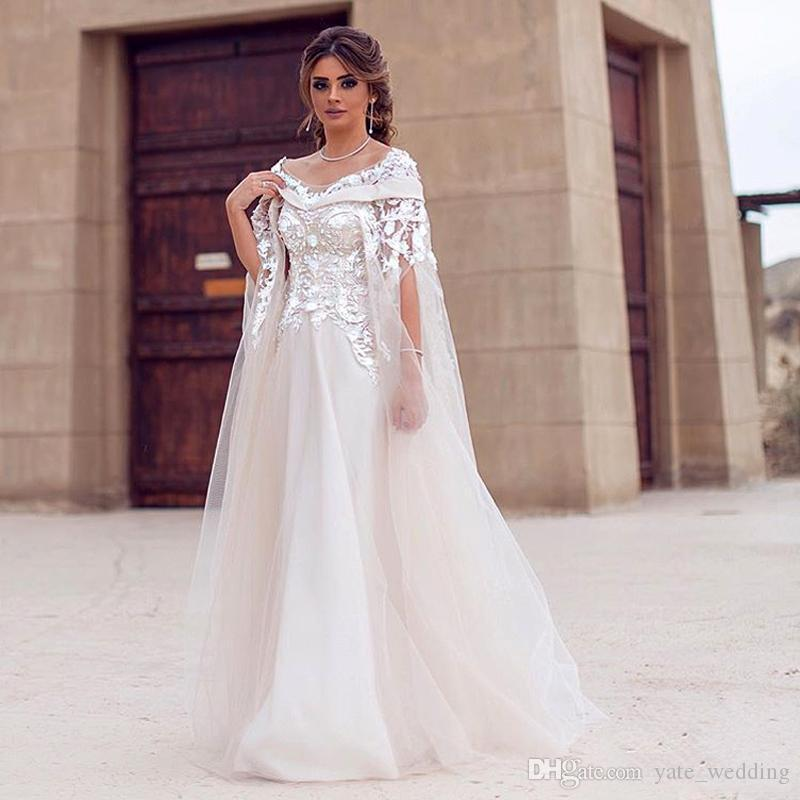 2019 Modest Saudi Arabic Wedding Dresses Scoop Off Shoulder Appliques Pearled Tulle Floor Length Dubai Maternity Beach Wedding Gowns