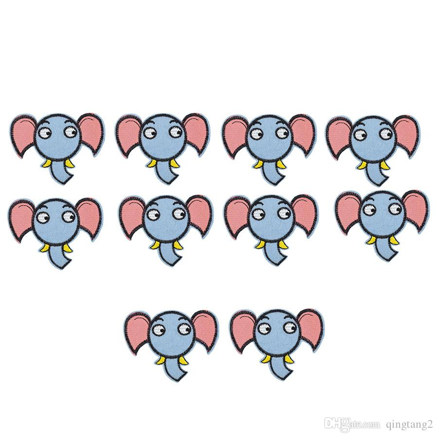 10PCS elephant embroidery patches for clothing iron patch for clothes applique sewing accessories stickers badge on cloth iron on patch DIY