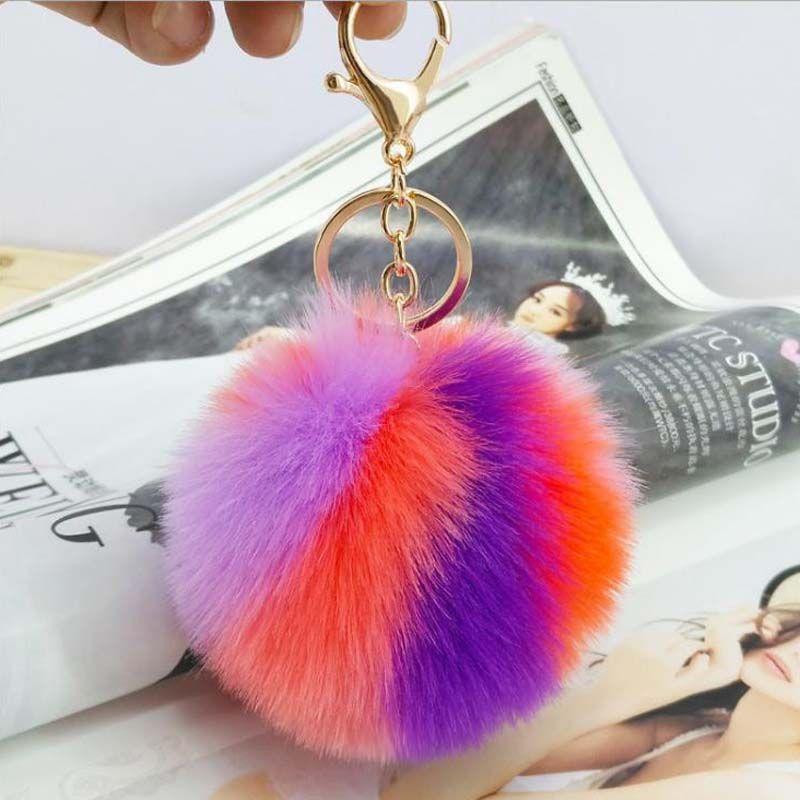 100pcs / lot 9CM Wholesale Colorful Artificial Rabbit Fur Ball Plush Key Chains Car Keychain Bag Pendant Fashion Accessories