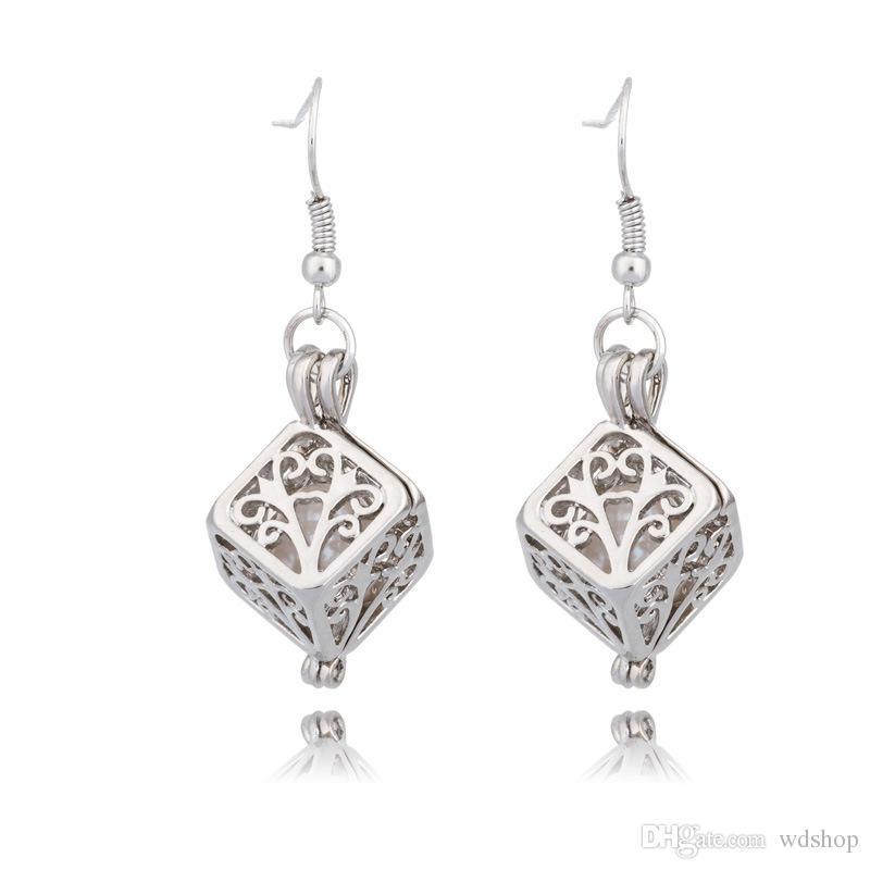 Ton argent perle cage pendentif boucles d'oreilles avec la conception de cube creux médaillon serrure à bijoux en cadeau de mariage perle d'huître