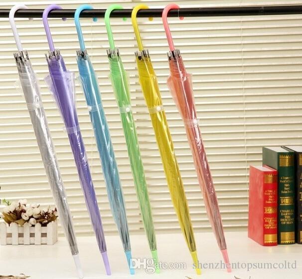 50PCS Wholesale Transparent Multicolor Umbrellas Clear PVC Umbrellas Long Handle Rainproof Umbrellas