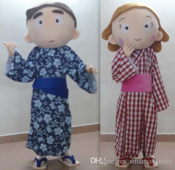 SX0727 Япония мужской и женский костюм талисмана Японский костюм талисмана девушки и мальчика для взрослых носить