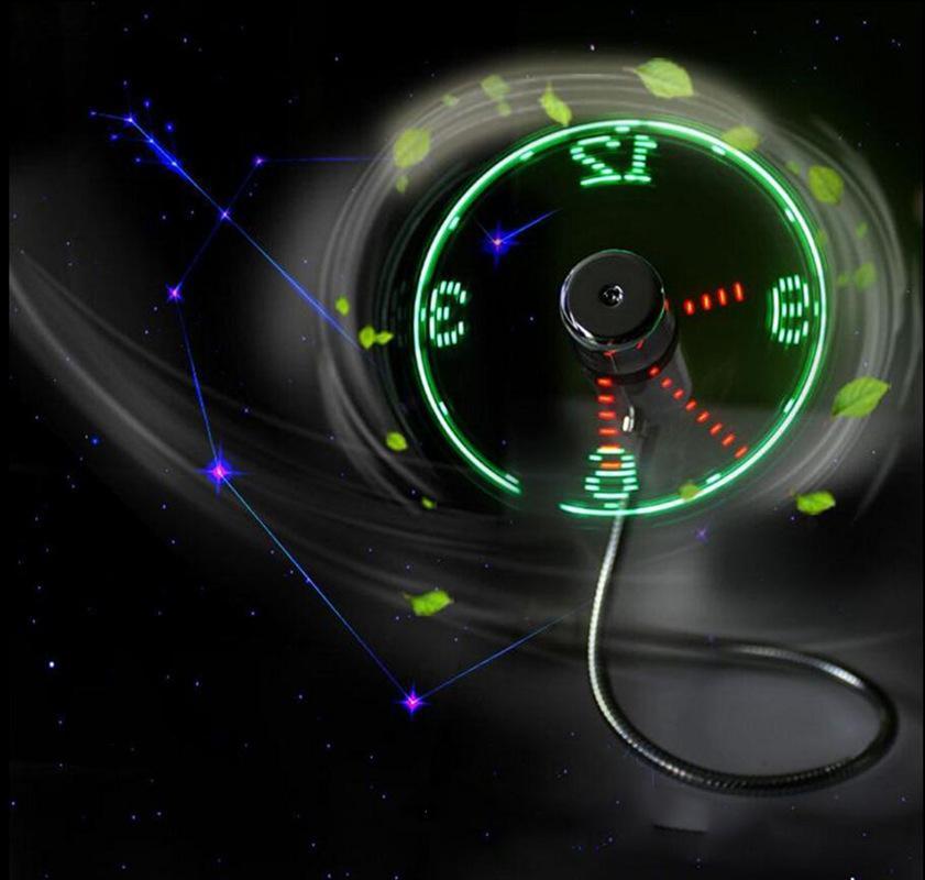 USB-Uhr Echtzeitanzeige LED-Blitzventilator