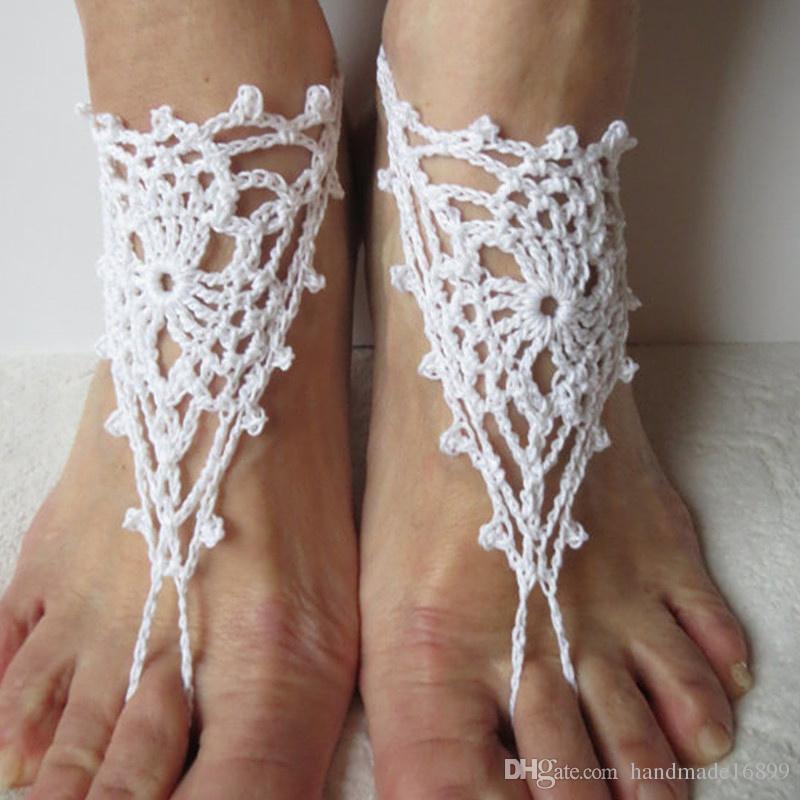 Crochet barfüßigsandelholze Strand-Hochzeit Yoga Schuhe Fuß Schmuck Fuß Schmuck, Spitze Schuhe, schwarze Sandalen, Yoga Schuhe, Strand Pool