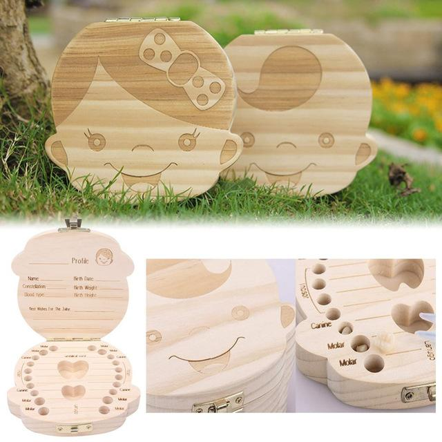 Hot Selling High Quality Tooth Box organizer for baby Milk teeth Save Wood storage box for kids Boy&Girl Wholesale
