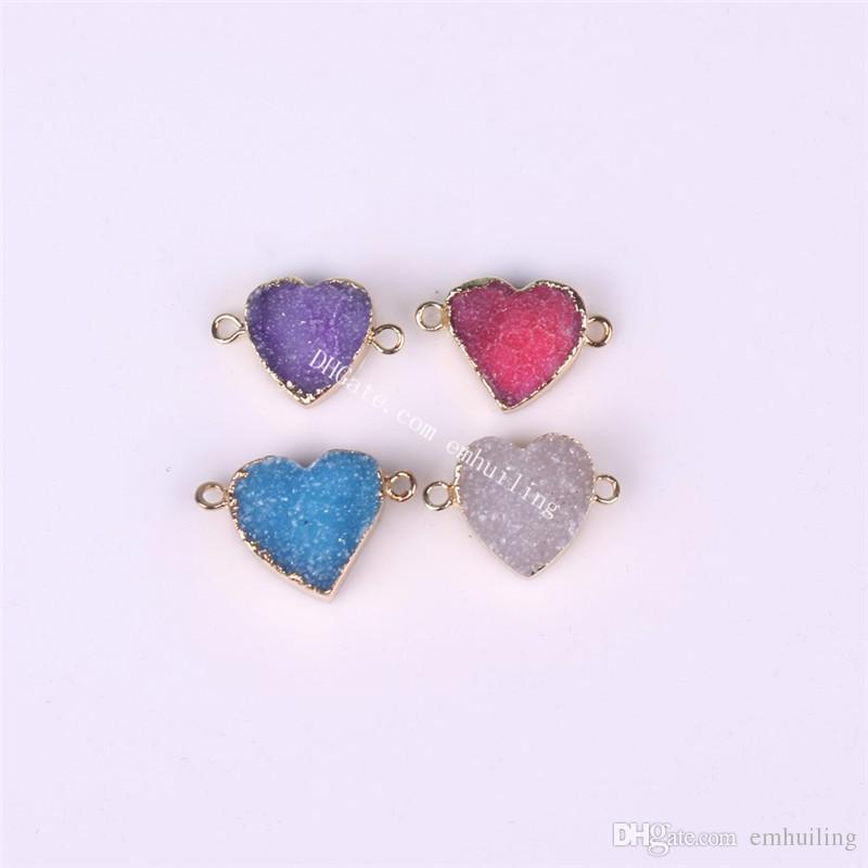 10PCS Wholesale 4Colors Natural Blue Druzy Agate Gems Heart Shape Pendants Double Bail Link Raw Drusy Quartz Plated Gold Connector Charms