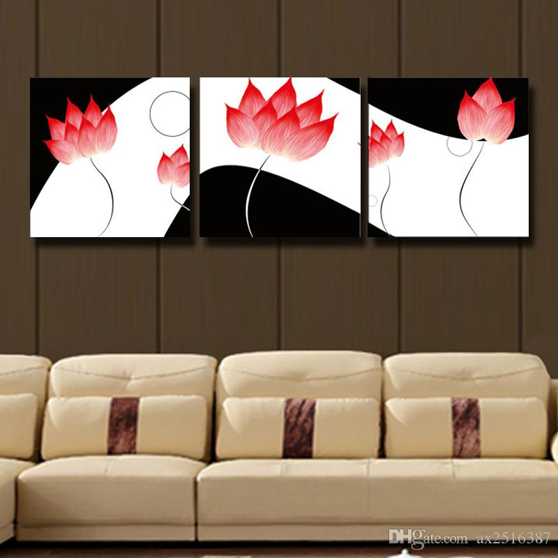 3 Pcs/Set lotus impression HD Wall Picture Modern Home Wall Decor Canvas Print Painting For Kitchen Decorate #120