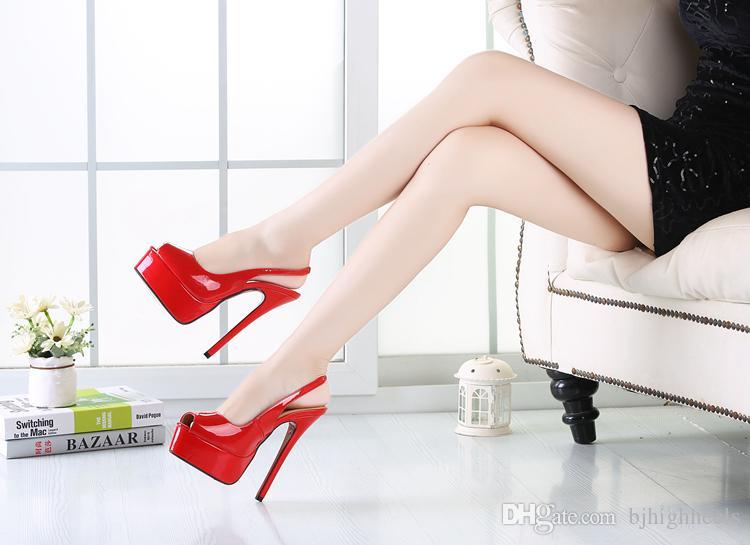 16CM Fersenhöhe Sexy Peep Toe Pfennigabsatz Plattform Party Schuhe Fersen US-Größe 8.5-15.5 No.A11