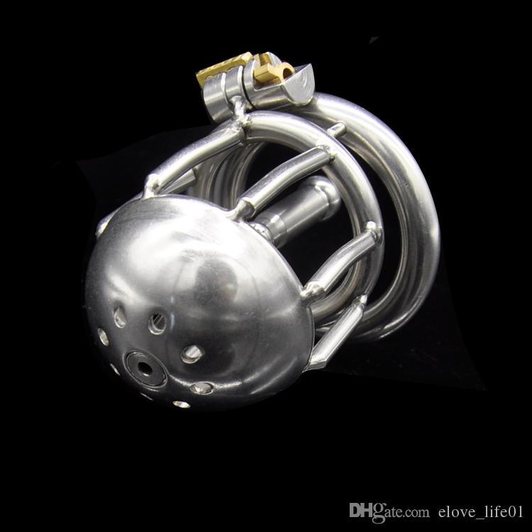 Sipping gratuito !! Ultimo design Dispositivi di castità maschili in acciaio inossidabile Più breve Gabbia Uretrale Tubo BDSM Giocattoli del sesso per gli uomini CPA220