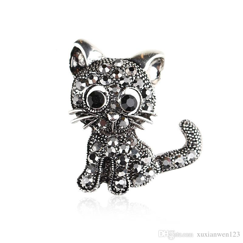 Different Beautiful rhinestone cat Brooches animal pins Gold Color Enamel Decoration Accessories Shirt Corsage Souvenir Holiday Gift