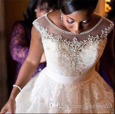 Sconto A Line Sheer Neck con perline Abito da sposa Plus Size Abito da sposa Sudafrica Abiti da sposa Economici Vestidos de Noiva