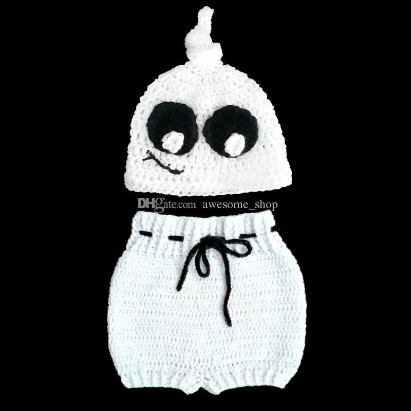 Супер крутой новорожденный вязаный призрачный костюм, вязаная крючком ручной работы девочка-призрак, шапка и шорты, детский костюм для Хэллоуина