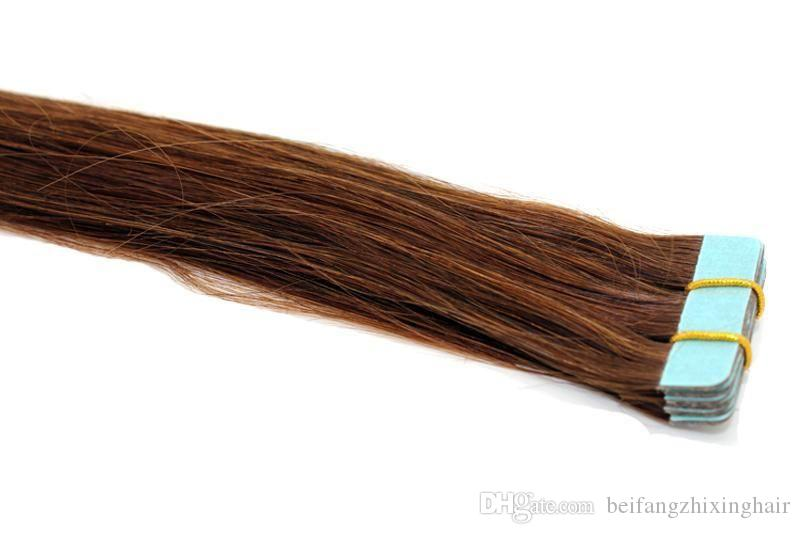 """Grade 7A Quality-- Skin weft Hair /remy human hair/ Straight Wave tape in hair 12"""" -26'' Color4# Brown Color/ 2.5g per piece 40piecs pack"""
