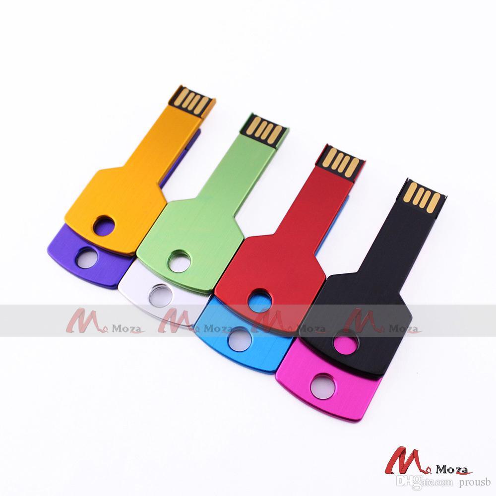 Free Customized Logo 10PCS 128MB 256MB 512MB 1G 2G 4GB 8GB 16GB USB Drive Memory Flash Metal Key Pendrives Sticks Genuine True Storage