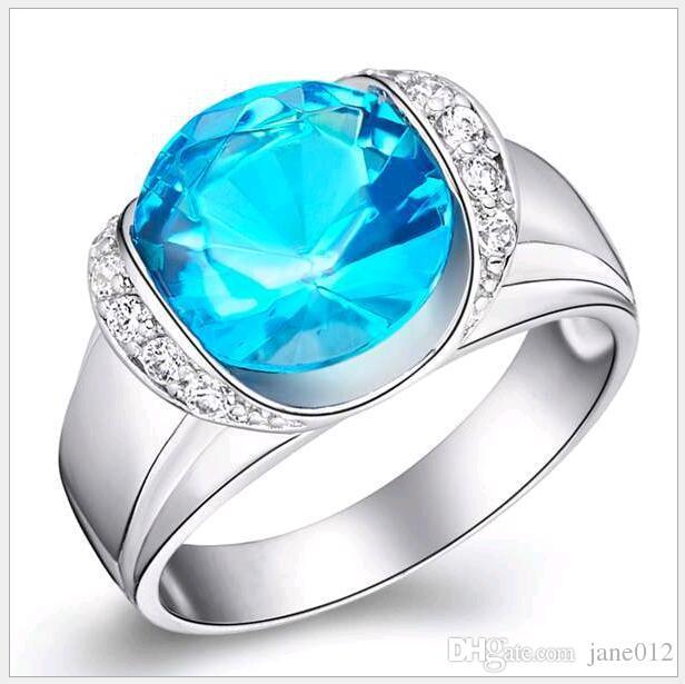 Cristal autrichien dames pierres précieuses bague 18K plaqué or blanc bague de jade bleu personnaliser 925 argent sterling