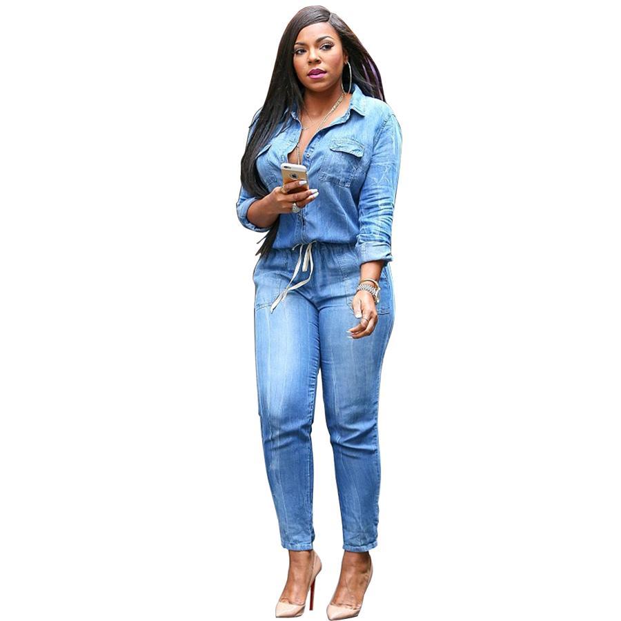Wholesale- European American Style 2016 Brand Street Fashion Vintage Denim Jumpsuits Jeans Plus Size Women Pants Jumpsuit Rompers