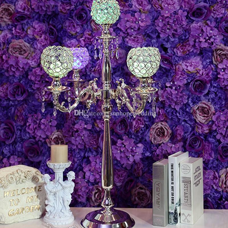 Uzun cam boncuk kristal metal çiçek standı, koridor dekor için kristal düğün centerpieces
